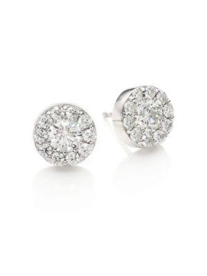 HEARTS ON FIRE Diamond & 18K White Gold Fulfillment Stud Earrings