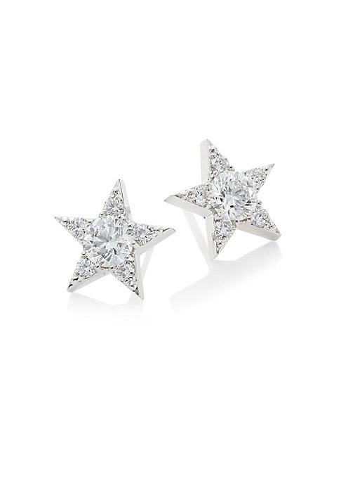 Image of From the Ila Collection. 18K white gold stud earrings adorned with shimmering round diamonds and glittering crystals in a lovely star shape. Genuine crystal. Round diamond, 1.30 tcw. Diamond color: GH. Diamond clarity: VS-SI.18K white gold. Friction back.
