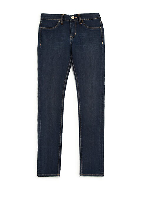 Image of Cigarette-cut skinny jeans in dark blue wash. Belt loops. Zip fly with button closure. Mock front pockets. Back patch pockets. Cotton/polyester/spandex. Machine wash. Imported.