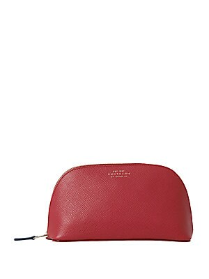 """Image of Chic cosmetics case in classic embossed leather Zip-around closure Lined 7""""W X 4""""H X 3""""D Leather Made in Italy. Gifts - Books And Music. Smythson. Color: Red."""