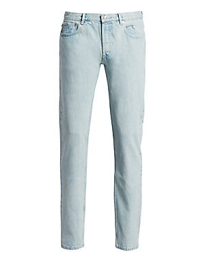 """Image of Classic jeans that stretches for maximum comfort Belt loops Button fly Five-pocket style Very tight fit at bottom leg Rise, about 6"""" Inseam, about 34"""" Japanese stonewashed denim Imported. Men Adv Contemp - Trend Collections > Saks Fifth Avenue. A.P.C. Col"""