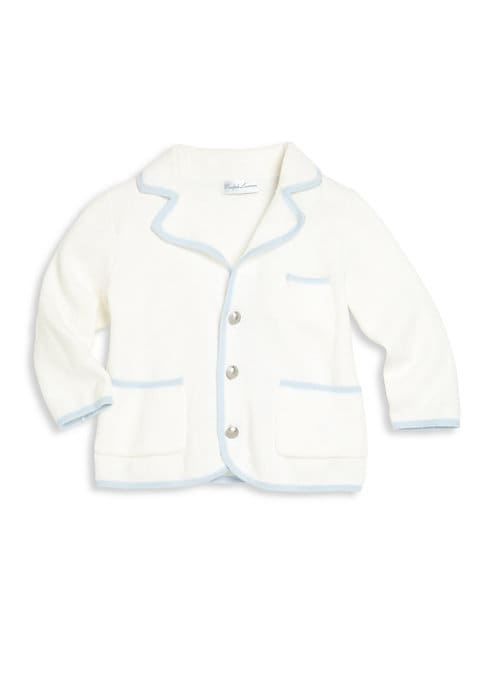 """Image of With the comfort of a sweater and the look of a jacket, this finely knit cotton style will keep your little one cozy and cute while at a wedding or out for brunch. Part of Ralph Lauren's exclusive Baby Collection, it is finished with silver-toned """"RLR""""-em"""