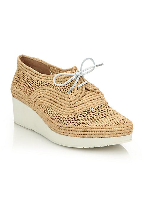 "Image of Intricately woven raffia textures lace-up design. Rubber wedge heel, 1.5"" (40mm).Raffia upper. Lace-up style. Leather lining. Rubber sole. Padded insole. Imported. Please note: style runs small, we recommend ordering one half size up. Please note: Style r"