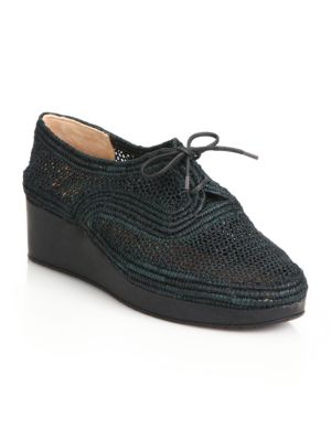 Vicolek Raffia Wedge Sneakers, Black