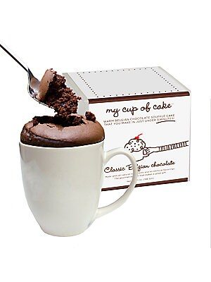 "Image of A charming souffle mix with measuring cup and instructions. Includes: Sugar, wheat flour, cocoa solids, egg, canola oil 2 lbs. About 2-4 servings Shelf life: 2 years+ 5"" x 5"" x 5"" Made in USA. Drop Ship Prgrm - Food > Saks Fifth Avenue. A Sprinkle and a D"