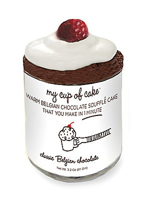 "Image of Single chocolate soufflé mix in reusable glass jar. Serves 1 1 lb. Glass jar: 2""W x 2""H Shelf life: 2 years Made in USA. Drop Ship Prgrm - Food. A Sprinkle and a Dash."