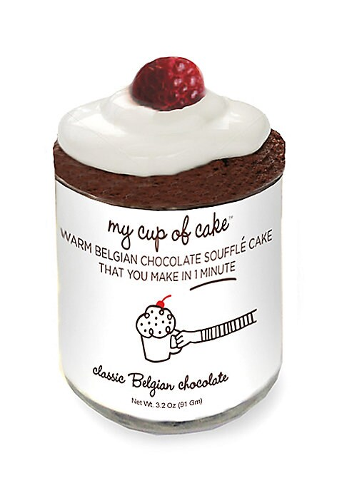 """Image of Single chocolate souffle mix in reusable glass jar. Serves 1.1 lb. Glass jar: 2""""W x 2""""H.Shelf life: 2 years. Made in USA."""