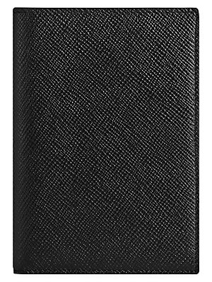"""Image of Chic red embossed leather cover for passport. Inside slip pockets Inside card pockets Leather 4""""W X 5.5""""H Imported. Gifts - Books And Music. Smythson. Color: Black."""