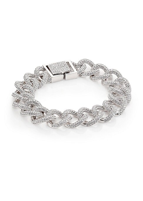 "Image of EXCLUSIVELY AT SAKS FIFTH AVENUE.A bold curb chain, paved with sparkle. Crystal. Rhodium-plated. Length, 7.25"".Box-and-tongue clasp. Imported."