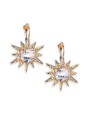 """Image of From the Aztec Collection Faceted white topaz set in a celestial burst silhouette White topaz 14k yellow gold Drop, 1"""" Leverback Made in Canada. Fashion Jewelry - Modern Jewelry Designers. Anzie. Color: Gold."""