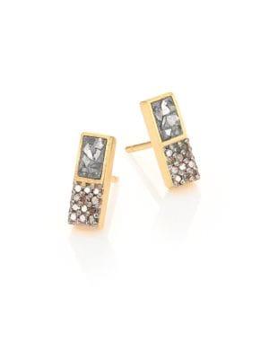 SHANA GULATI Banjara Alwar Sliced Raw & Champagne Diamond Stud Earrings in Gold