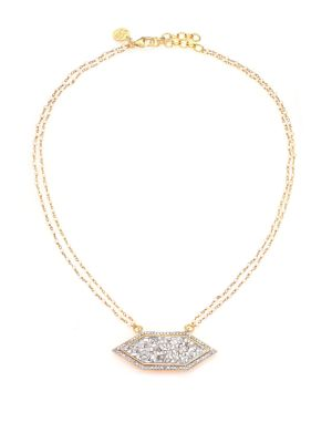 SHANA GULATI Charushila Shashi 3Mm White Round Freshwater Pearl, Pavé Champagne & Sliced Raw Diamond Pendant Neck in Gold