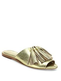617cadb28b98b Loeffler Randall Kiki Metallic Leather Tassel Slide Sandals from ...