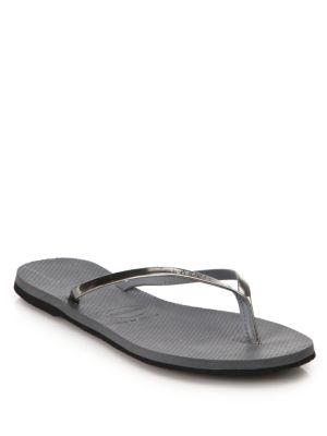 HAVAIANAS Slim Metallic Flip-Flops in Steel Grey