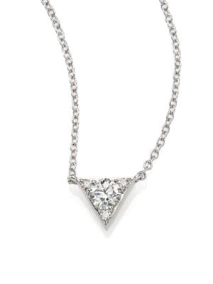 HEARTS ON FIRE Triplicity Triangle Diamond & 18K White Gold Pendant Necklace in Silver