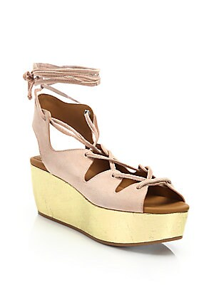 0e906320b57 See by Chloé - Liana Suede Lace-Up Flatform Wedge Sandals - saks.com