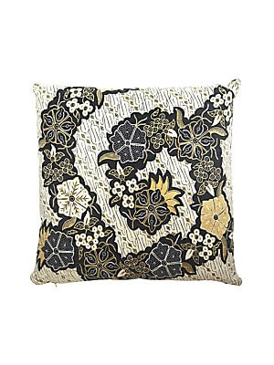 Image of Pillow crafted from antique Balinese ceremonial sarongs. 18 H x 18 W Cotton Spot clean Imported. Gifts - Decorative Home. Andrianna Shamaris.