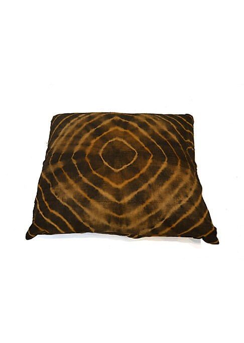 """Image of Raffia pillow in globe-trotting motif. Concealed zip closure. Inserts included. Cotton lining.22""""W x 19""""H.Raffia. Spot clean. Imported."""