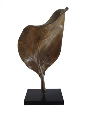 "Image of Hand-carved palm leaf of rich teak wood. Set on steel stand.28""H.Teak wood. Spot clean. Imported."