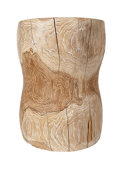 """Image of Rustic seat shaped into an hourglass silhouette.17""""H x 12""""DIA. Teak wood. Spot clean. Imported."""