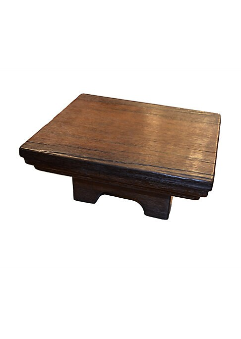 """Image of Hand-carved mahogany wood tray table.17""""D x 19""""H.Terracotta/gold luster. Wipe with a damp cloth. Made in USA."""