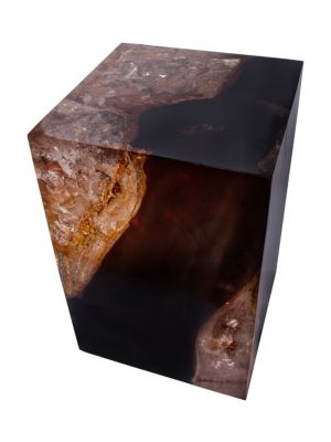 Image of From the Cracked Resin Collection. A unique piece of furniture, this stylish table is designed from organic teak and cracked resin to create an evocative effect. Imported.