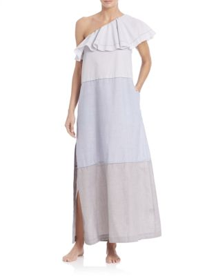 """Image of Effortless cotton-blend dress topped with one-shoulder flounce detail. One-shoulder flounce neckline. Paneled construction. Side seam pockets. Side slits. Pullover style. About 53"""" from shoulder to hem. Polyester/cotton. Dry clean. Made in USA. Model show"""