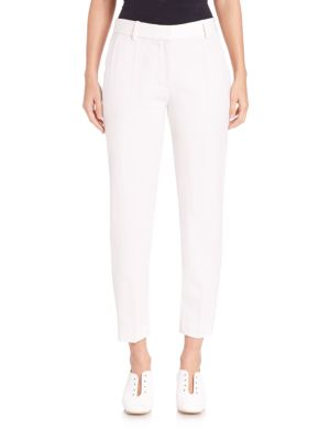 """Image of Tuxedo-inspired skinny pant with cropped hem. Belt loops. Zip fly with hook-and-bar. Side slash pockets. Cropped hem. Rise, about 11"""".Inseam, about 28"""".Viscose/acetate/elastane. Dry clean. Imported. Model shown is 5'10"""" (177cm) wearing US size 4."""