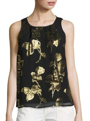 Kastra Metallic Floral-Print Tank Top by Joie