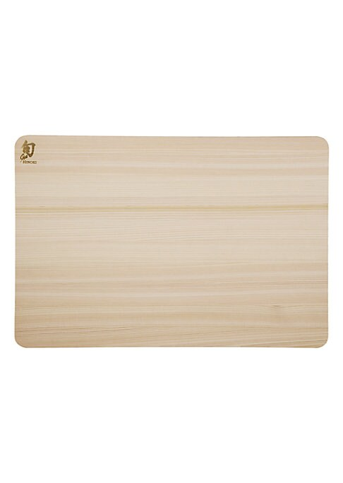 """Image of From the Shun Accessories Collection. Japan-grown medium-soft wood cutting board.10.75""""W X 15.75""""H X 0.5""""D.Hinoki. Hand wash. Imported."""