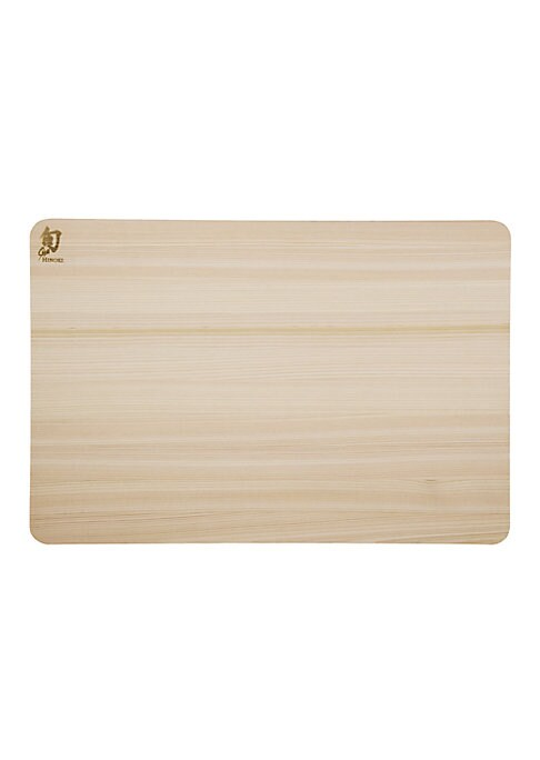 """Image of From the Shun Accessories Collection. Japan-grown medium-soft wood cutting board.11.75""""W X 17.75""""H X 0.75""""D.Hinoki. Hand wash. Imported."""