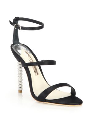 Rosalind Crystal-Heel Satin Sandals in Black from SOPHIA WEBSTER