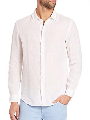 0c6cb5cc Armani Collezioni - Solid Linen Button-Down Shirt