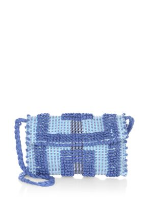 """Image of Boho woven diamond-motif clutch with strap. Crossbody strap, about 21.5"""".Magnetic flap closure. Three inside pockets. Lined. Cotton. Made in Italy."""