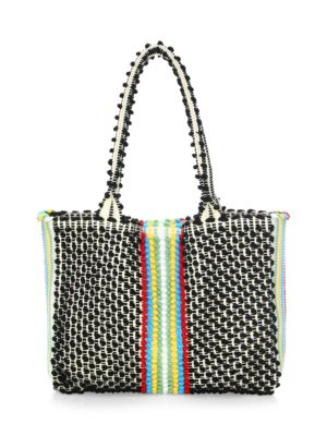 """Image of Neutral tote bag with woven diamond-motif. Double top handles, 10.2"""" drop. Magnetic top closure. One inside pocket. Cotton. Made in Italy."""