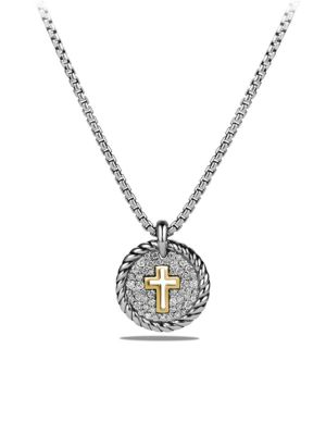 Cable Collectibles Cross Charm Necklace with Diamonds and 18K Gold