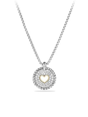 Cable Collectibles Heart Charm Necklace with Diamonds and 18K Gold