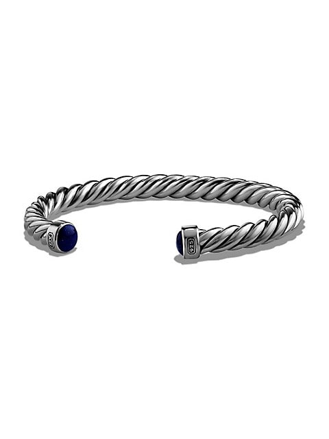 The Cable Lapis Lazuli & Sterling Silver Cuff Bracelet