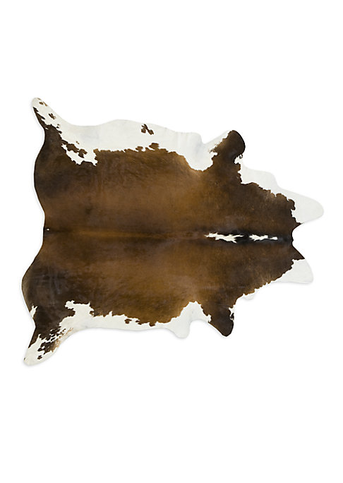 """Image of .A premium rug, handfinished to a perfect, multicolored finish. Large: 72""""W X 84""""L.X-Large: 78""""W X 84""""L.Cowhide. Spot clean. Imported."""