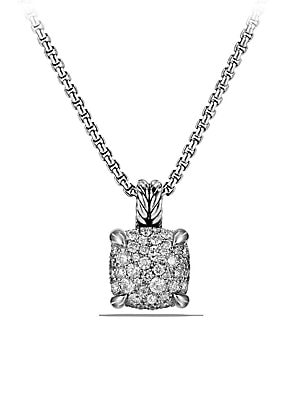 """Image of From the Châtelaine® Collection Pavé diamonds, 0.64 total carat weight Sterling silver Chain length, 17""""-18"""" Pendant, 11mm Lobster clasp Imported. David Yurman - David Yurman Silver Ice. David Yurman. Color: Silver. Size: 18""""."""