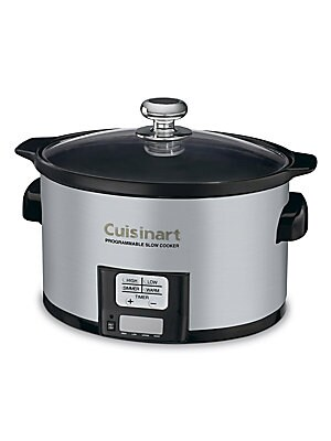 Image of From the Kitchen Electrics Collection. Ceramic cooking pot with four cooking modes Glass lid with chrome-plated knob Removable 3.5-quart oval ceramic cooking pot Keep Warm, Simmer, Low, and High settings Touchpad control panel with LED timer display Nonsl