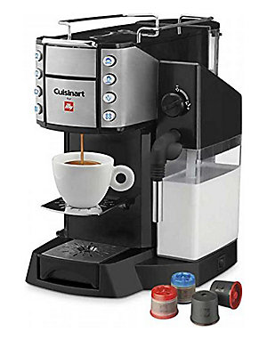 Image of From the Kitchen Electric Collection. Dual espresso maker with 19 bars of pressure. Dual heating system 8 blue LED Controls One-touch latte and cappuccino Removable 34oz. water reservoir for up to 20 short espressos Removable 22oz. milk Container for up t
