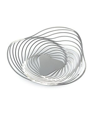 "Image of Basket inspired by the shell of Nautilus mollusk. 2.75""H x 10.25""D 18/10 stainless steel Made in Italy. Gifts - Kitchen. Alessi."