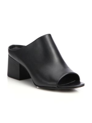 "Image of On-trend leather open-toe mule set on block heel. Self-covered block heel, 2.13"" (55mm).Leather upper. Open toe. Slip-on style. Leather lining and sole. Padded insole. Imported."