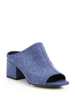 "Image of Casual denim open-toe mule set on block heel. Self-covered block heel, 2.13"" (55mm).Cotton upper. Open toe. Slip-on style. Leather lining and sole. Padded insole. Imported."