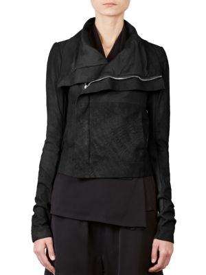 Leather Combo Biker Jacket by Rick Owens