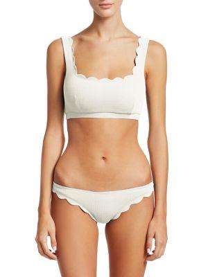 Marysia Palm Springs Scalloped Swim Top, Coconut