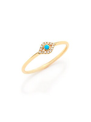 ae2bf683e Sydney Evan - Small Infinity Diamond, Turquoise & 14K Yellow Gold Evil Eye  Ring