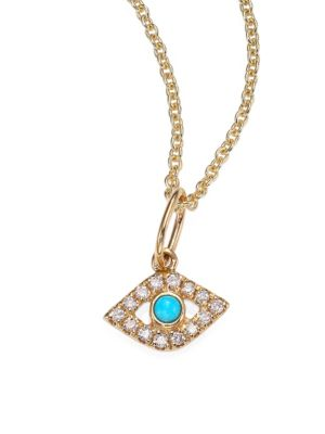 Sydney Evan 14k Yellow Gold Diamond Turquoise Evil Eye Necklace