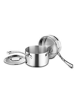 Image of From the Cookware Collection. Sleek 3-piece set of top-quality construction. Saucepan with lid: 3 qt. Double boiler Tri-ply stainless steel Dishwasher safe Made in France Lifetime manufacturer's warranty. Gifts - Kitchen. Cuisinart.